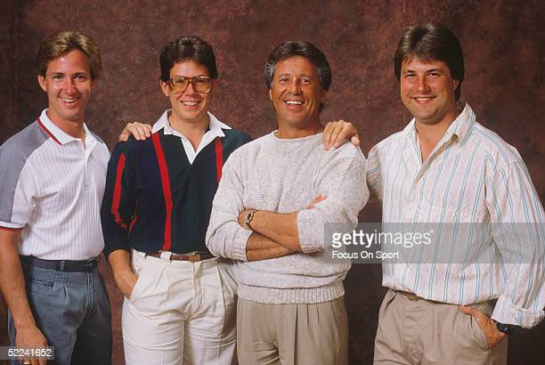 Mario Andretti poses with his two sons Michael and Jeff and his nephew John Andretti
