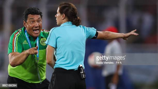 Mario Arteaga of Mexico reacts with a assistant referee during the FIFA U17 World Cup India 2017 group F match between England and Mexico at...