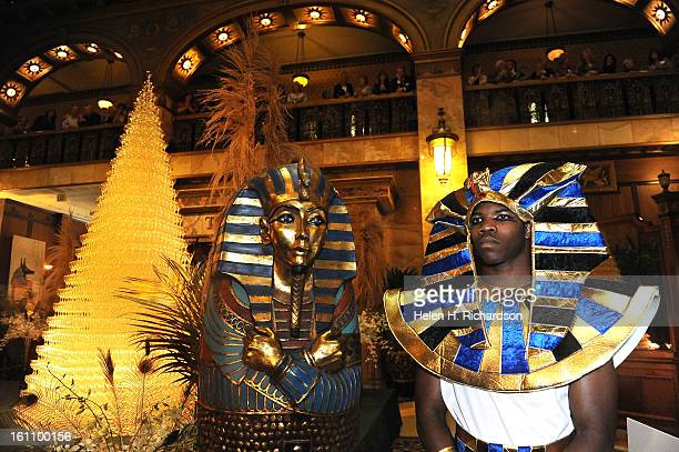 Mario Avent right dressed up as ancient egyptians as part of the decorations for the event The 23rd Champagne Cascade held each year at the Brown...
