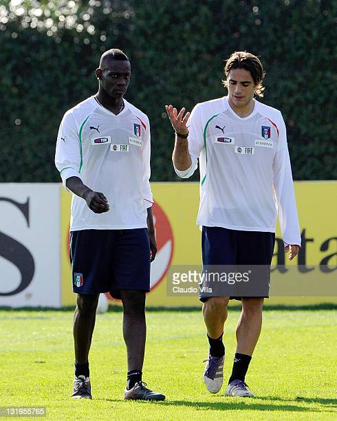 Mario Balotelli and Alessandro Matri of Italy during training session ahead of a international match against Poland at Coverciano on November 9 2011...