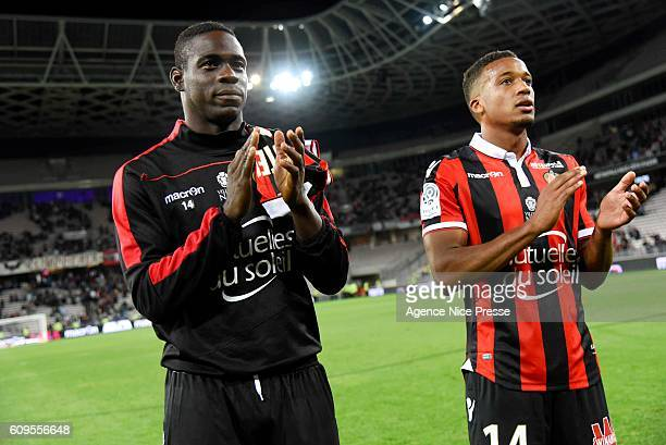 Mario Balotelli and Allasane Plea of OGC Nice during the Ligue 1 match between OGC Nice and AS Monaco at Allianz Riviera on September 21 2016 in Nice...