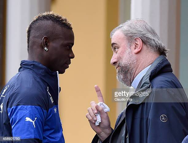 Mario Balotelli and the priest of the italian national team Don Massimiliano Gabbricci after Italy Training Session at Coverciano on November 13 2014...