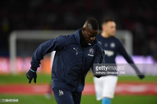 Mario Balotelli at the Ligue 1 match between Paris Saint Germain and Olympique de Marseille at Parc des Princes on March 17 2019 in Paris France