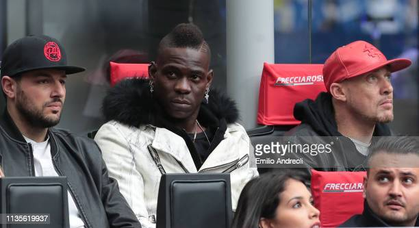 Mario Balotelli attends during the Serie A match between FC Internazionale and Atalanta BC at Stadio Giuseppe Meazza on April 7 2019 in Milan Italy