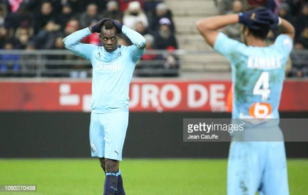 Mario Balotelli, Boubacar Kamara of Marseille during the french Ligue 1 match between Stade de Reims and Olympique de Marseille at Stade Auguste...