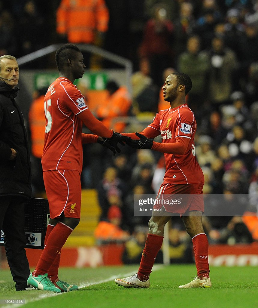Mario Balotelli comes on for Raheem Sterling of Liverpool during the Barclays Premier League match between Liverpool and Swansea City at Anfield on December 29, 2014 in Liverpool, England.