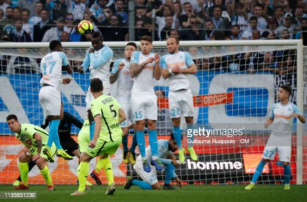 Mario Balotelli Duke Caleta Car Valere Germain and Lucas Ocampos during the Ligue 1 match between Olympique Marseille and Angers SCO at Stade...