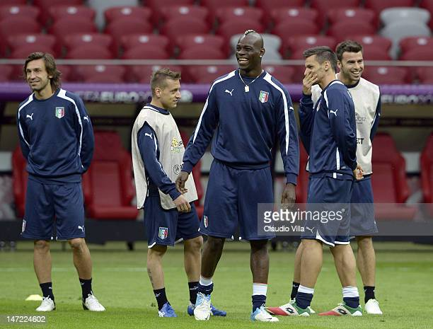 Mario Balotelli during an Italy training session ahead of their UEFA EURO 2012 semifinal match against Germany at National Stadium on June 27 2012 in...