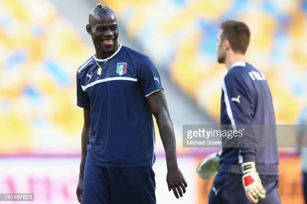 Mario Balotelli during the Italy training session ahead of the UEFA Euro Final at the Olympic Stadium on June 30, 2012 in Kiev, Ukraine.
