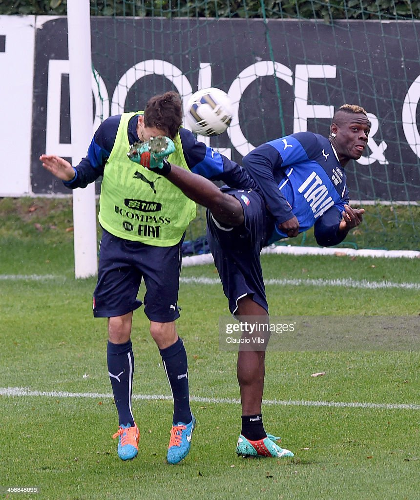 Mario Balotelli (R) in action during Italy Training Session at Coverciano on November 12, 2014 in Florence, Italy.