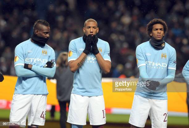 Mario Balotelli Jerome Boateng and Silva of Manchester City line up before the UEFA Europa League Group A match between Manchester City and Red Bull...