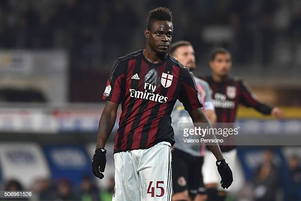 Mario Balotelli of AC Milan celebrates after scoring the opening goal from the penalty spot during the TIM Cup match between US Alessandria and AC...