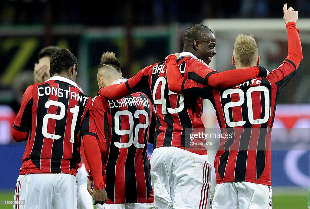 Mario Balotelli of AC Milan celebrates victory with his team-mates at the end of the Serie A match between AC Milan and Udinese Calcio at San Siro Stadium on February 3, 2013 in Milan, Italy.