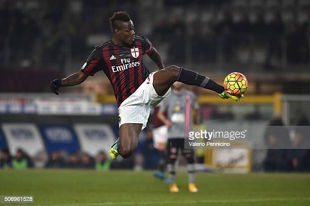 Mario Balotelli of AC Milan controls the ball during the TIM Cup match between US Alessandria and AC Milan at Olimpico Stadium on January 26 2016 in...