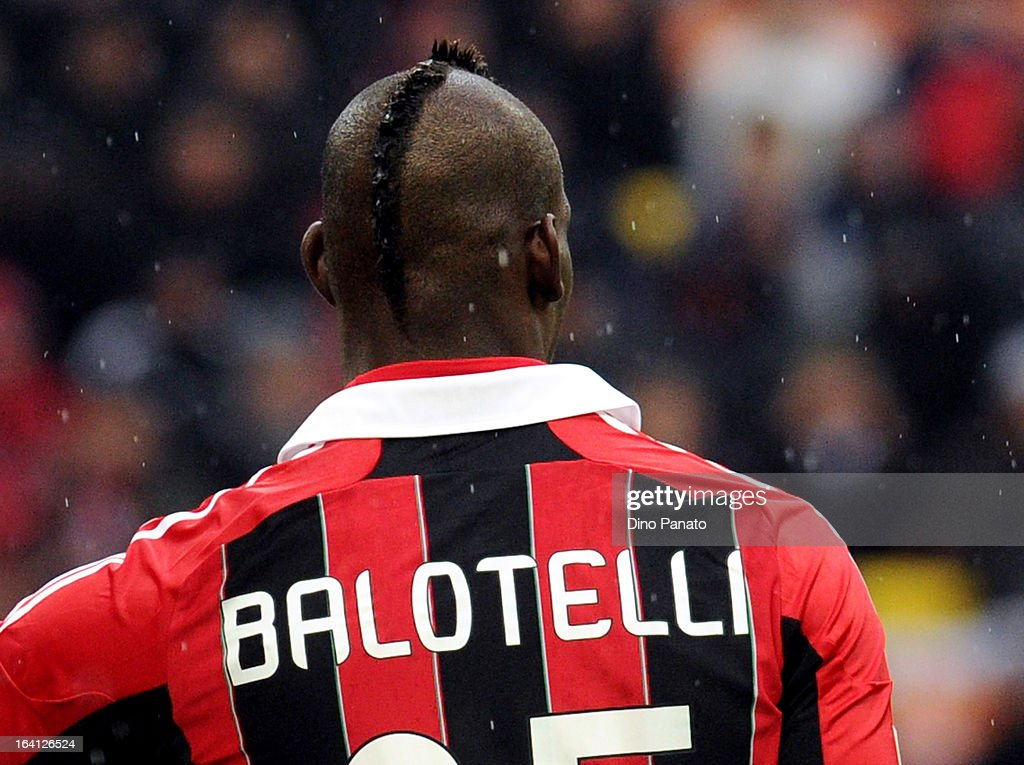 Mario Balotelli of AC Milan during the Serie A match between AC Milan and US Citta di Palermo at San Siro Stadium on March 17, 2013 in Milan, Italy.