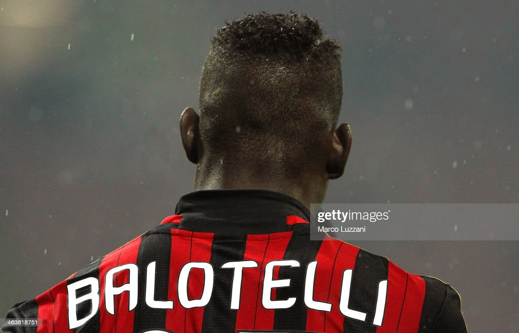 Mario Balotelli of AC Milan during the Serie A match between AC Milan and Hellas Verona FC at San Siro Stadium on January 19, 2014 in Milan, Italy.
