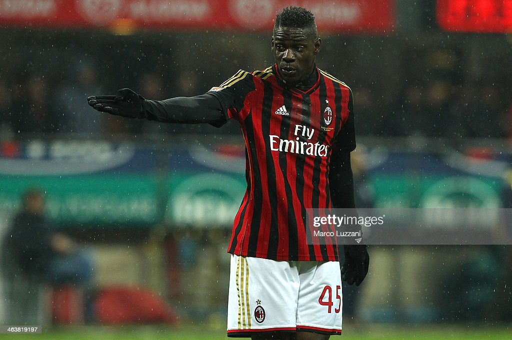 Mario Balotelli of AC Milan gestures during the Serie A match between AC Milan and Hellas Verona FC at San Siro Stadium on January 19, 2014 in Milan, Italy.