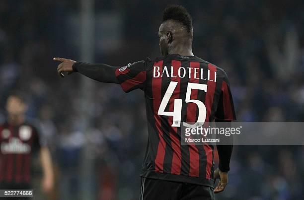 Mario Balotelli of AC Milan gestures during the Serie A match between UC Sampdoria and AC Milan at Stadio Luigi Ferraris on April 17 2016 in Genoa...