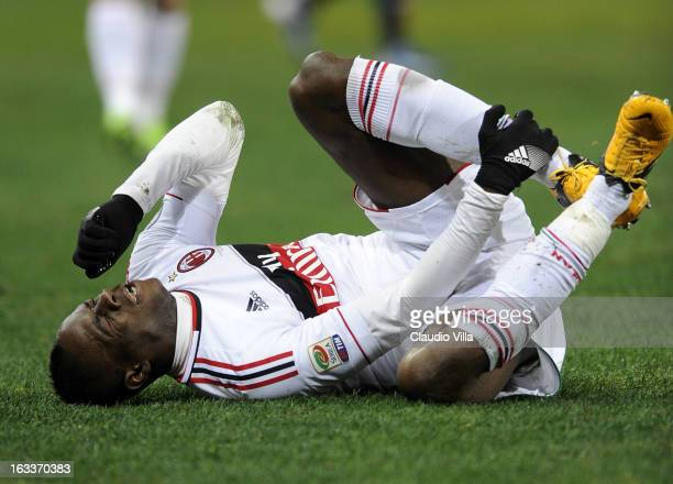 Mario Balotelli of AC Milan injured during the Serie A match between Genoa CFC and AC Milan at Stadio Luigi Ferraris on March 8, 2013 in Genoa, Italy.