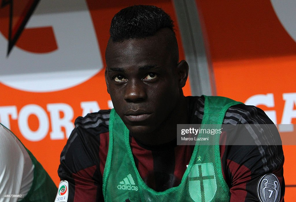 Mario Balotelli of AC Milan looks on before the Serie A match between AC Milan and Empoli FC at Stadio Giuseppe Meazza on August 29, 2015 in Milan, Italy.