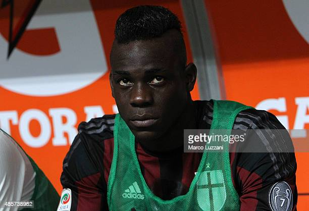 Mario Balotelli of AC Milan looks on before the Serie A match between AC Milan and Empoli FC at Stadio Giuseppe Meazza on August 29 2015 in Milan...
