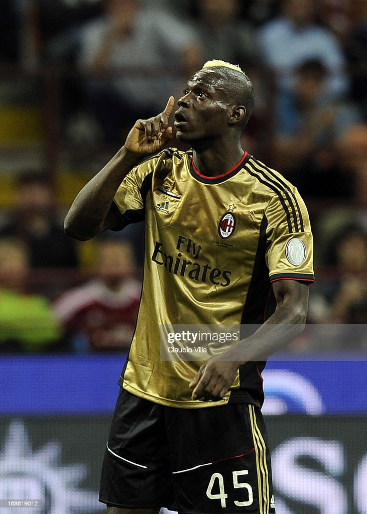 Mario Balotelli of AC Milan silences the fans of AS Rom during the Serie A match between AC Milan and AS Roma at San Siro Stadium on May 12, 2013 in Milan, Italy.