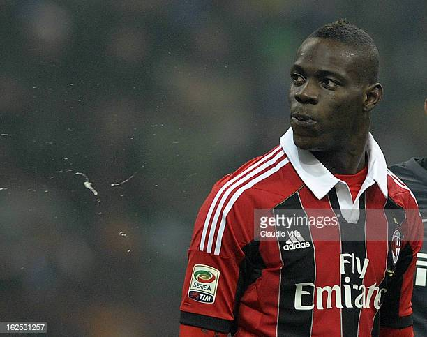 Mario Balotelli of AC Milan spitting towards FC Inter fans during the Serie A match FC Internazionale Milano and AC Milan at San Siro Stadium on...