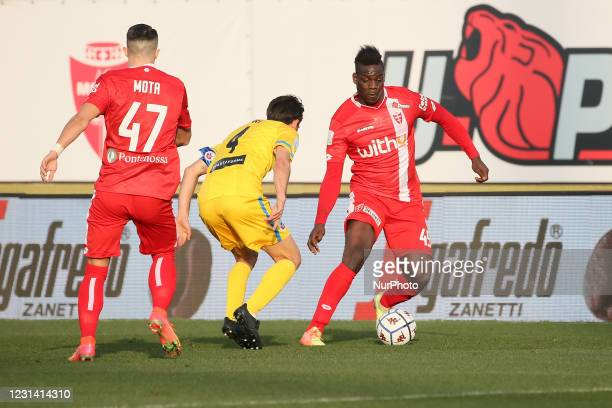 Mario Balotelli of AC Monza in action during the Serie B match between AC Monza and AS Cittadella at Stadio Brianteo on February 27, 2021 in Monza,...