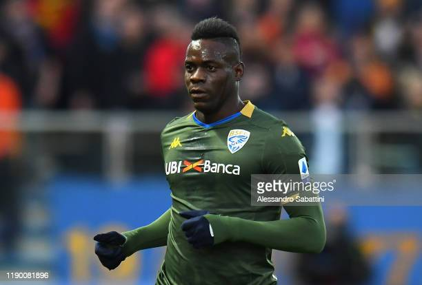 Mario Balotelli of Brescia Calcio looks on during the Serie A match between Parma Calcio and Brescia Calcio at Stadio Ennio Tardini on December 22...