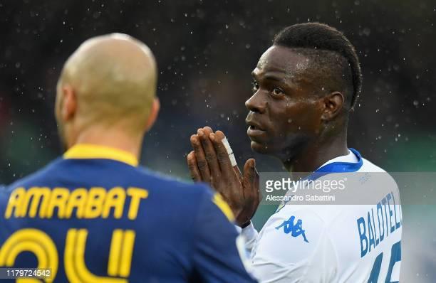 Mario Balotelli of Brescia Calcio reacts during the Serie A match between Hellas Verona and Brescia Calcio at Stadio Marcantonio Bentegodi on...