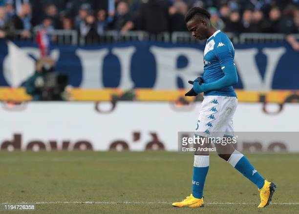 Mario Balotelli of Brescia Calcio walks off after getting a red card during the Serie A match between Brescia Calcio and Cagliari Calcio at Stadio...