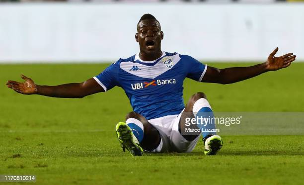 Mario Balotelli of Brescia Calcioreacts during the Serie A match between Brescia Calcio and Juventus at Stadio Mario Rigamonti on September 24 2019...