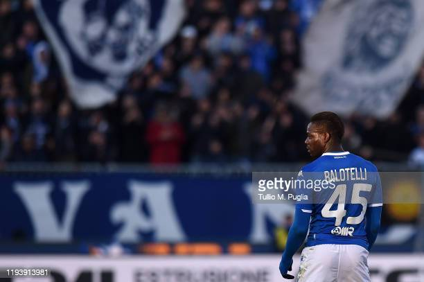 Mario Balotelli of Brescia looks on scoring goal during the Serie A match between Brescia Calcio and US Lecce at Stadio Mario Rigamonti on December...