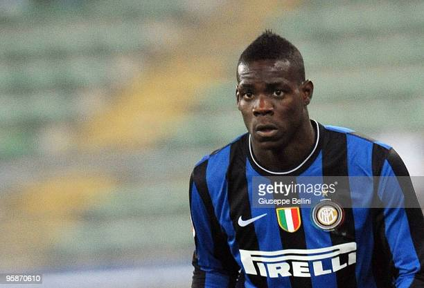 Mario Balotelli of Inter in action during the Serie A match between Bari and Inter Milan at Stadio San Nicola on January 16, 2010 in Bari, Italy.