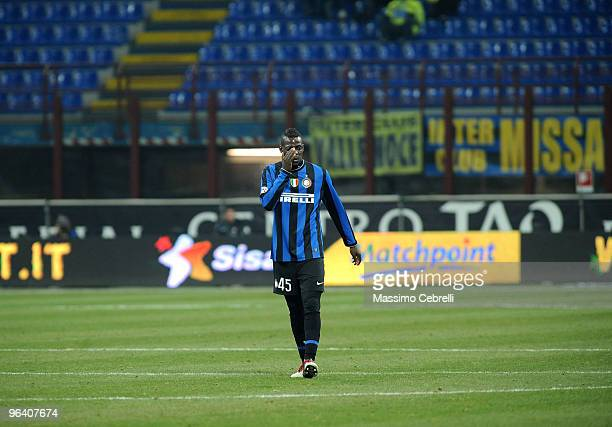 Mario Balotelli of Internazionale Milan walks alone on the pitch during the first leg semifinal Tim Cup between FC Internazionale Milano and ACF...