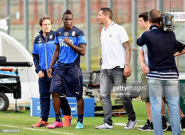Mario Balotelli of Italy and Marco Materazzi during the Italian national sides training session at Stadio Renato Curi on June 3, 2014 in Perugia,...