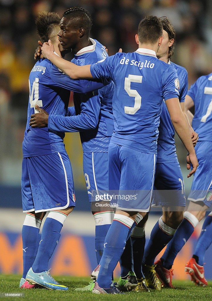 Mario Balotelli of Italy (2nd L) celebrates scoring the first goal during the FIFA 2014 World Cup qualifier match between Malta and Italy at Ta Qali Stadium on March 26, 2013 in Malta, Malta.