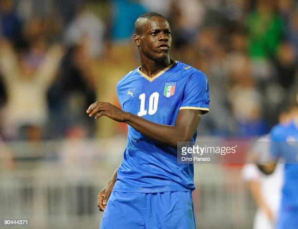 Mario Balotelli of Italy celebrates the goal during the UEFA U21 Championship Group 3 qualifying match between Italy and Luxembourg at at Silvio...