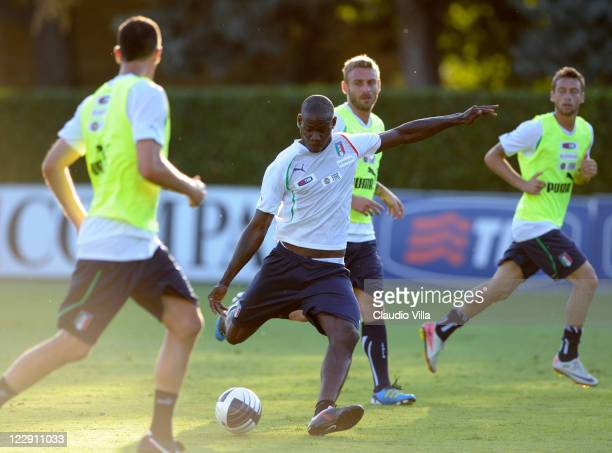 Mario Balotelli of Italy in action during a training session ahead of Friday's UEFA EURO 2012 qualifier against Faroe Islands at Coverciano on August...