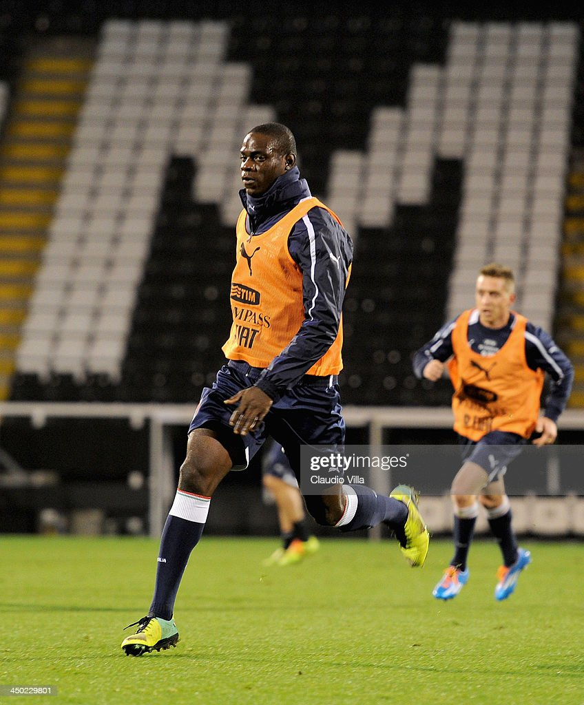 Mario Balotelli of Italy in action during a training session at Craven Cottage on November 17, 2013 in London, England.