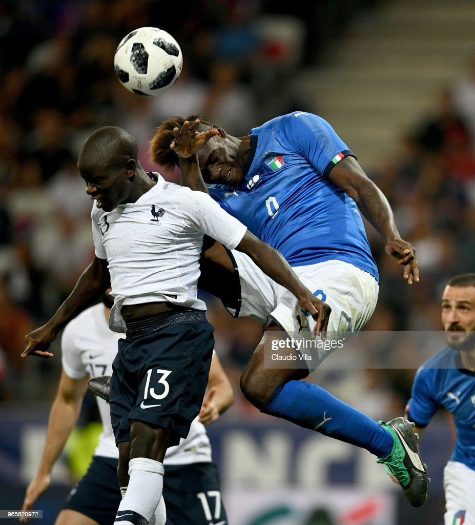 Mario Balotelli of Italy (R) in action during the International Friendly match between France and Italy at Allianz Riviera Stadium on June 1, 2018 in Nice, France.