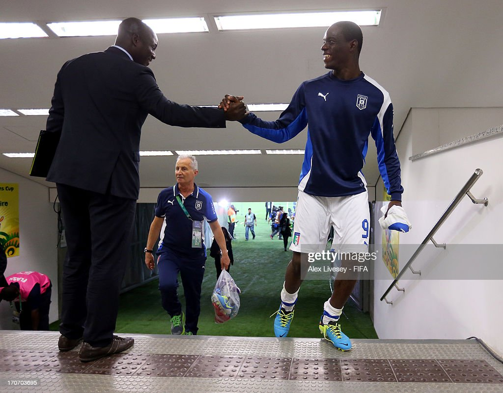 Mario Balotelli of Italy is congratulated at the end of the FIFA Confederations Cup Brazil 2013 Group A match between Mexico and Italy at the Maracana Stadium on June 16, 2013 in Rio de Janeiro, Brazil.