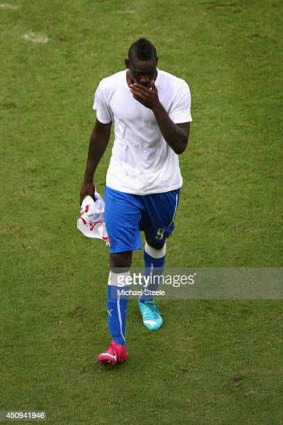 Mario Balotelli of Italy looks dejected after a 1-0 defeat to Costa Rica in the 2014 FIFA World Cup Brazil Group D match between Italy and Costa Rica...