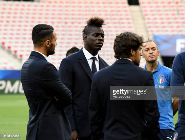Mario Balotelli of Italy looks on during Italy walk around at Allianz Riviera on May 31 2018 in Nice France
