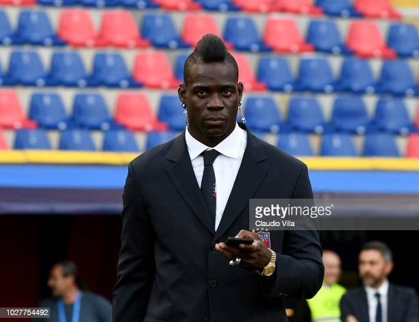 Mario Balotelli of Italy looks on during Italy walk around at Stadio Renato Dall'Ara on September 6 2018 in Bologna Italy