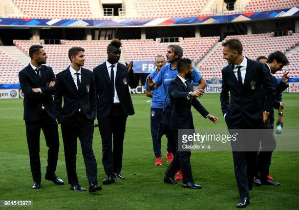 Mario Balotelli of Italy reacts during Italy walk around at Allianz Riviera on May 31 2018 in Nice France