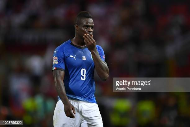Mario Balotelli of Italy reacts during the UEFA Nations League A group three match between Italy and Poland at Stadio Renato Dall'Ara on September 7...