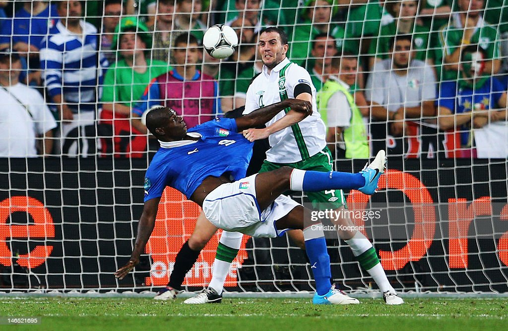 Mario Balotelli of Italy scores his side's second goal during the UEFA EURO 2012 group C match between Italy and Ireland at The Municipal Stadium on June 18, 2012 in Poznan, Poland.