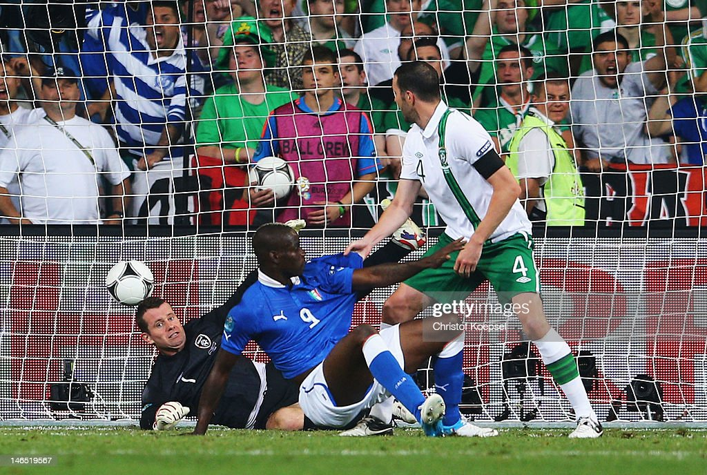 Mario Balotelli of Italy scores his side's second goal past Shay Given of Republic of Ireland during the UEFA EURO 2012 group C match between Italy and Ireland at The Municipal Stadium on June 18, 2012 in Poznan, Poland.