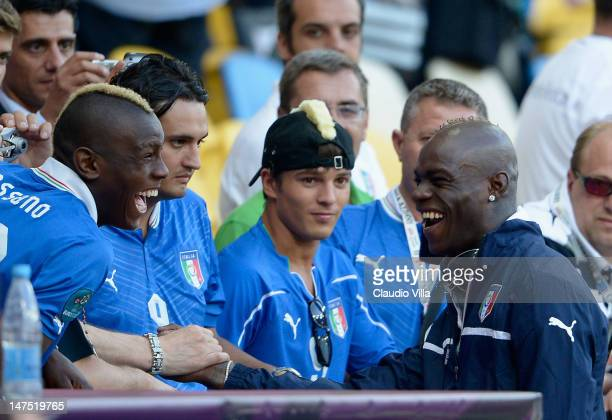 Mario Balotelli of Italy talks to fans ahead of the UEFA EURO 2012 final match between Spain and Italy at the Olympic Stadium on July 1, 2012 in...